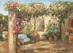 SIGNED K YUMA COLORFUL FLORAL COURTYARD SCENE