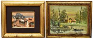 2 FRAMED PAINTINGS LANDSCAPES W BOATS SIGNED