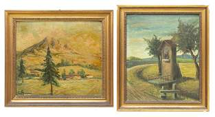 (2) FRAMED SCENIC OIL ON BOARD PAINTINGS, SIGNED