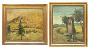 2 FRAMED SCENIC OIL ON BOARD PAINTINGS SIGNED