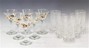 11 FRENCH CRYSTAL HIGHBALL MARTINI GLASSES