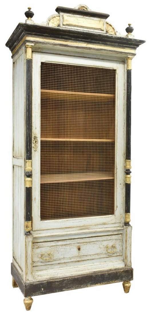 FRENCH DISTRESSED PAINTED BOOKCASE, 19TH C.