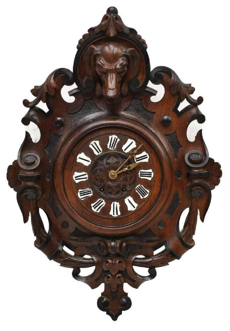 BLACK FOREST HEAVILY CARVED WALNUT WALL CLOCK