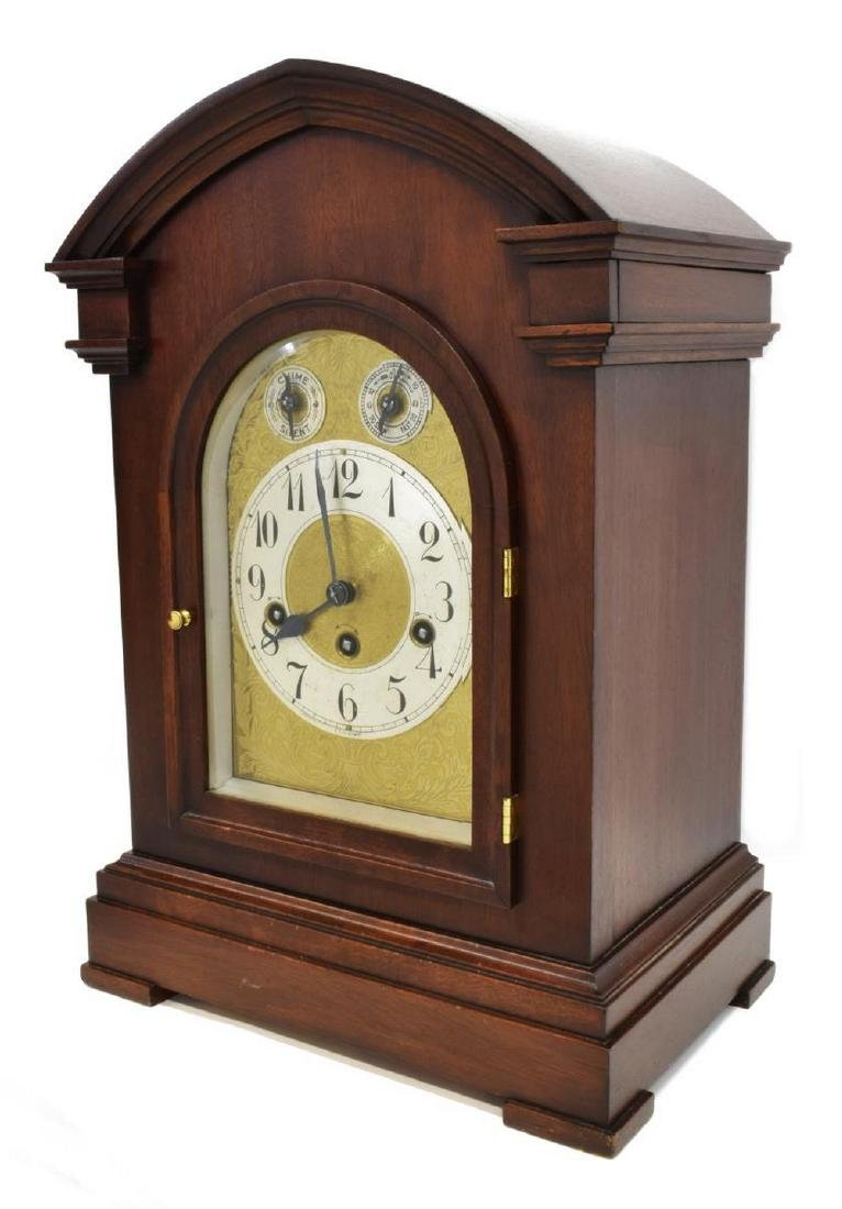 GERMAN MAHOGANY CASED CHIMING SHELF CLOCK