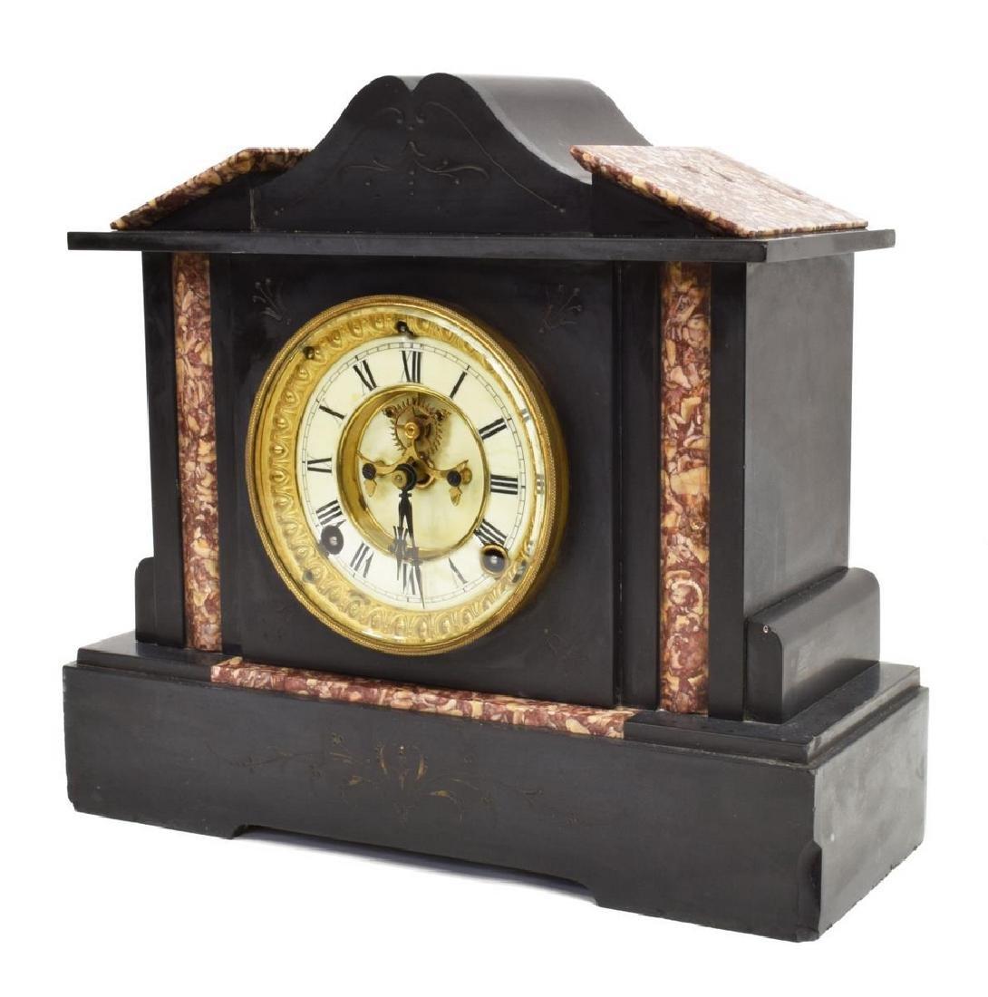 ANSONIA CLOCK CO. SLATE & MARBLE CASE SHELF CLOCK
