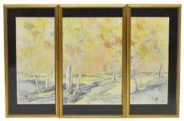 E. SCHUFF (D.1991) AUTUMN LANDSCAPE WATERCOLOR