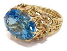 ESTATE 14KT YELLOW GOLD BLUE TOPAZ  DIAMOND RING