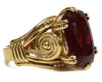 ESTATE 14KT YELLOW GOLD & LAB-CREATED RUBY RING