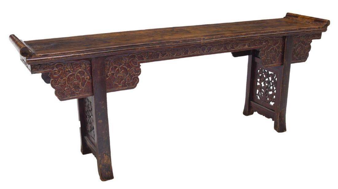 "LONG CHINESE ELMWOOD ALTAR TABLE, 98""L"