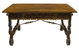 SPANISH BAROQUE STYLE CARVED LIBRARY TABLE 60L