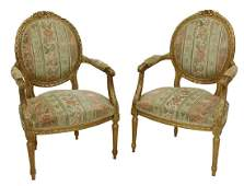 2 FRENCH LOUIS XVI STYLE FAUTEUILS ARMCHAIRS
