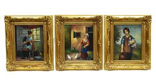 (3) FRAMED SIGNED OIL PAINTINGS, LADY & PUPPY, ETC