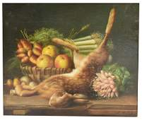 SIGNED STILL LIFE WITH RABBIT PAINTING