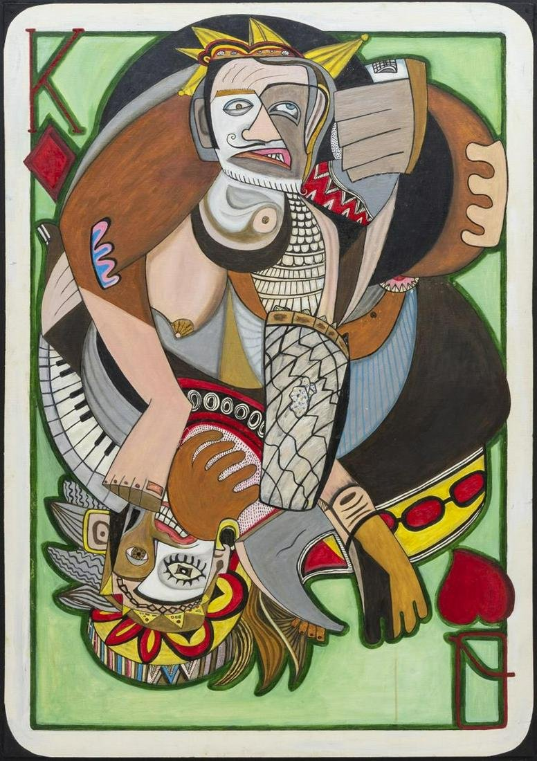 JORGE LOYEZ (TX) MODERNIST CUBIST CARD PAINTING