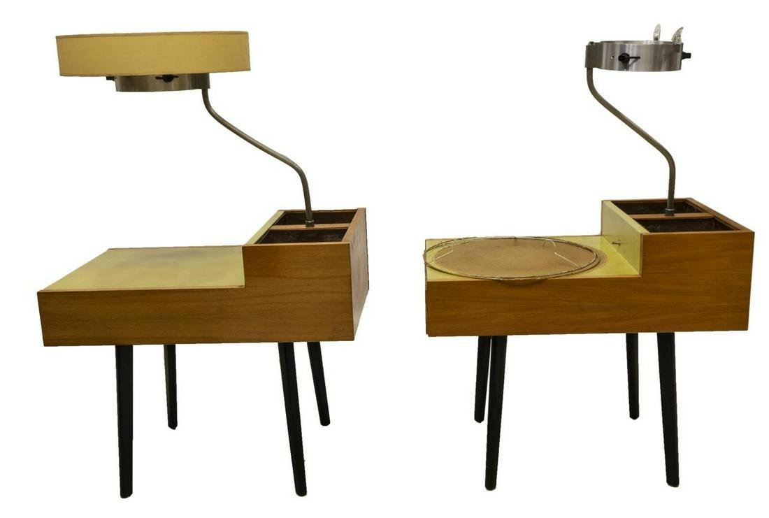 (2) GEORGE NELSON HERMAN MILLER LAMP PLANTER TABLE