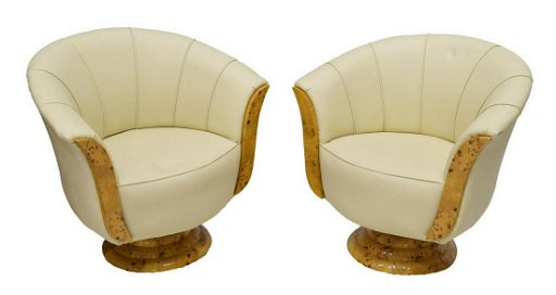 2 French Art Deco Style Leather Swivel Chairs