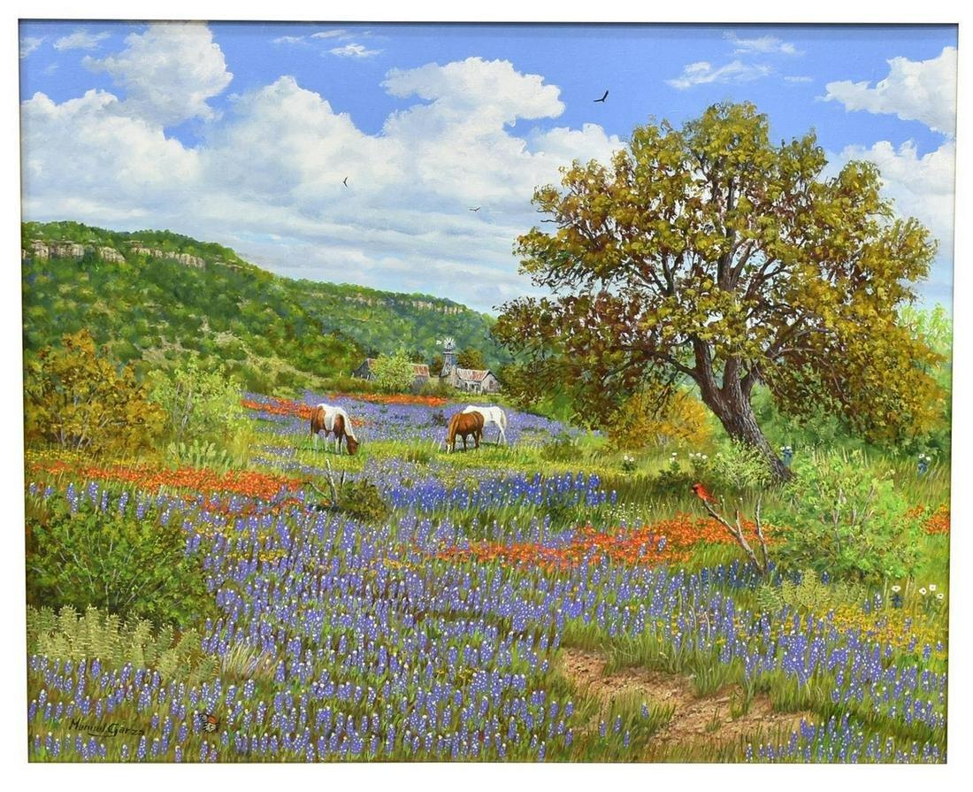 "MANUEL GARZA (B.1940) HORSES AND WILDFLOWERS, 16"" x 20"""