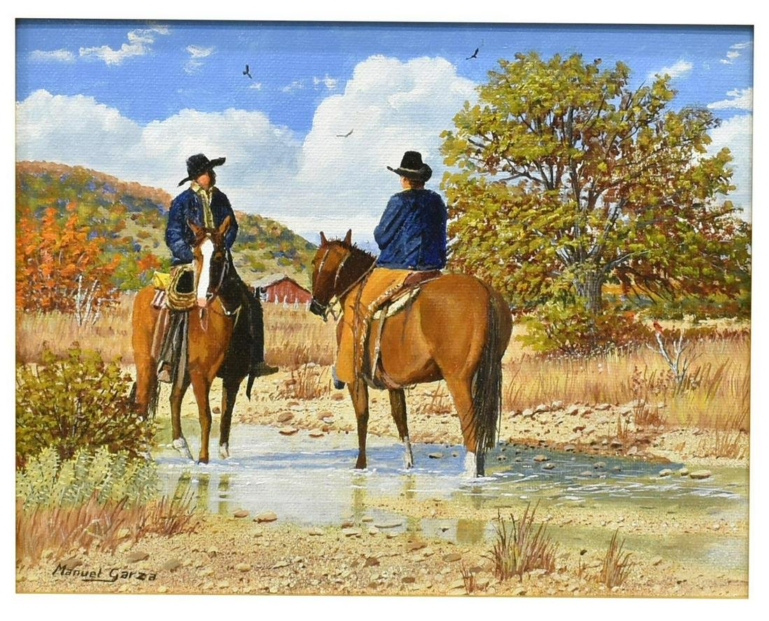 MANUEL GARZA (B.1940) FRAMED PAINTING, COWBOYS