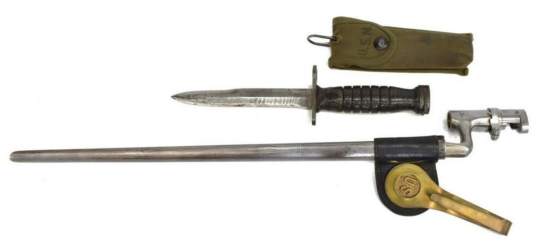 (3) US BAYONETS, SOCKET & M4, USN SURVIVAL KNIFE