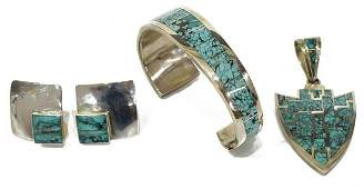 4) NAVAJO TRACEY KNIFEWING STERLING JEWELRY SUITE