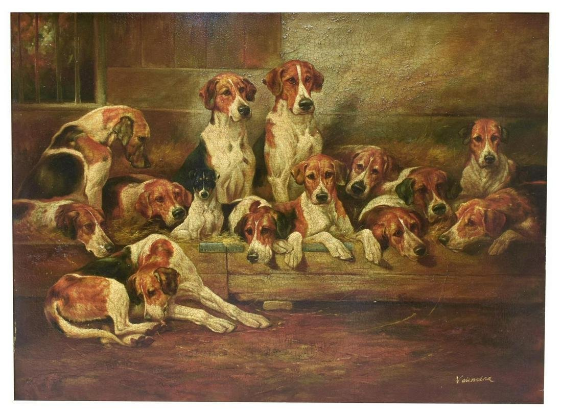 DECORATIVE FRAMED HUNTING DOGS OIL PAINTING