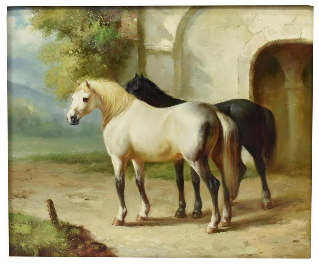 DECORATIVE FRAMED EQUESTRIAN OIL PAINTING