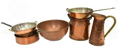 6 GROUP OF COPPER KITCHENWARE PANS PITCHERS