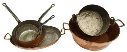 7 COLLECTION OF COPPER KITCHENWARE POTS PANS