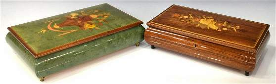(2) VINTAGE ITALIAN MARQUETRY MUSIC BOXES