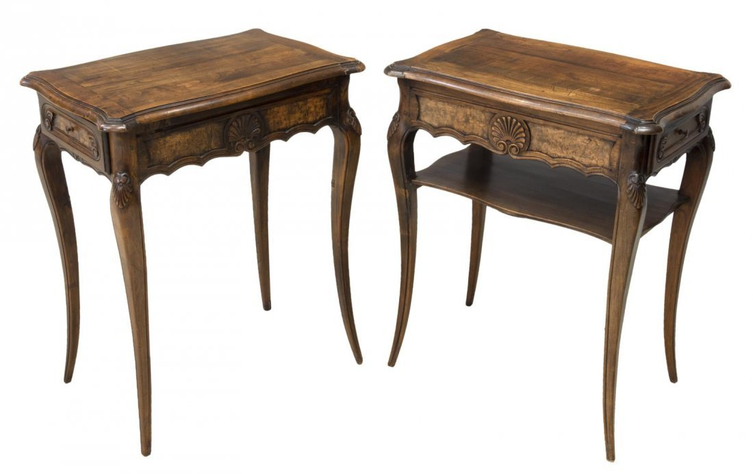 (2) FRENCH LOUIS XV STYLE WALNUT SIDE TABLES