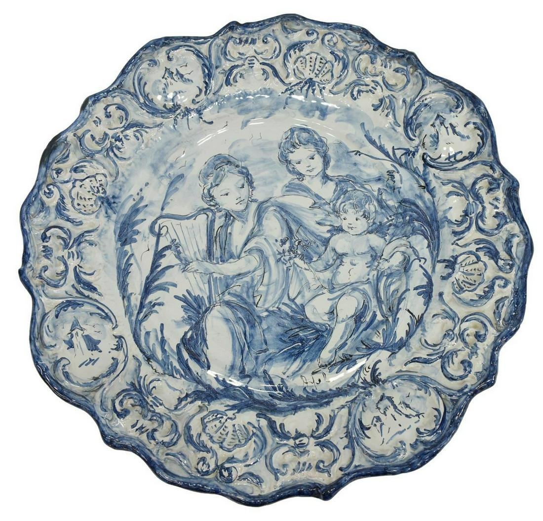 LARGE GIACCHINO ALBISOLA MAJOLICA POTTERY CHARGER