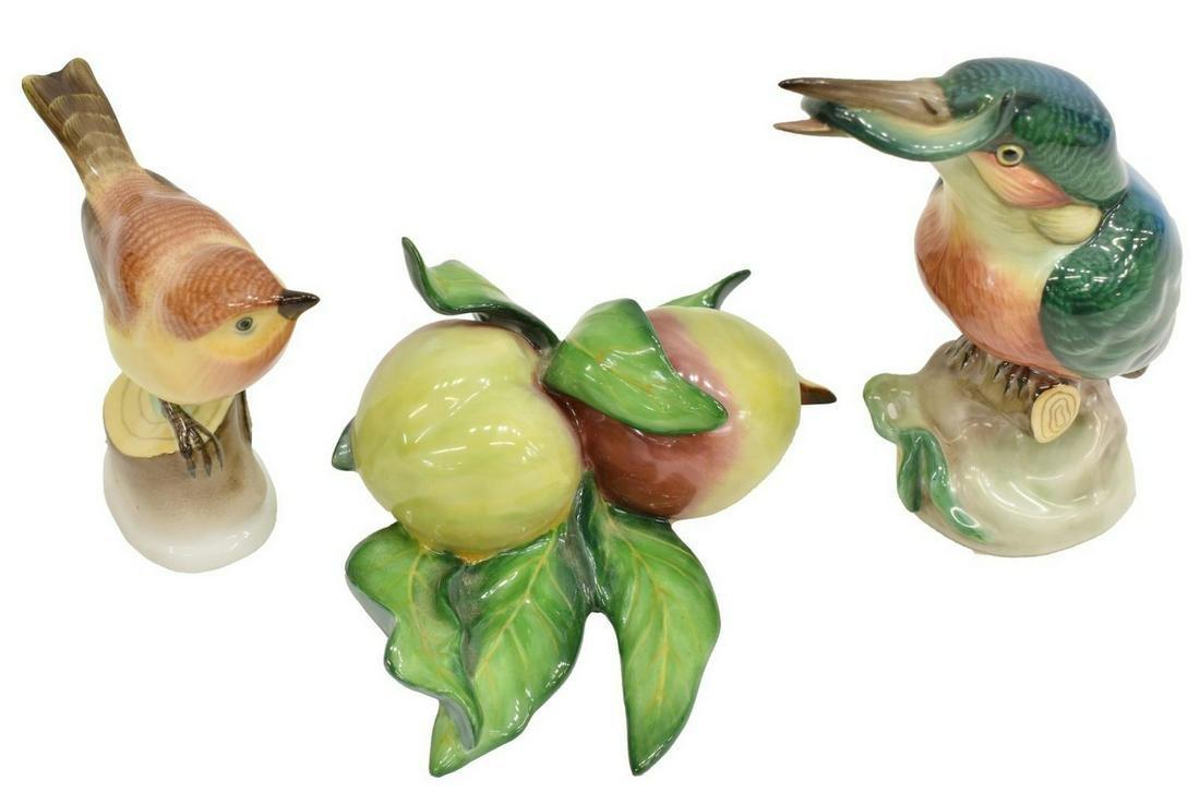 (3) HEREND HAND-PAINTED PORCELAIN FIGURES, BIRDS