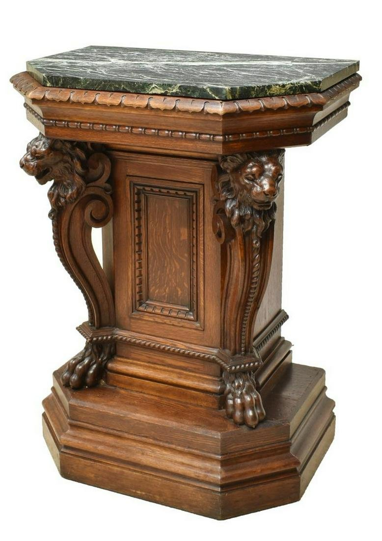 LARGE FRENCH MARBLE-TOP FIGURAL LION PEDESTAL