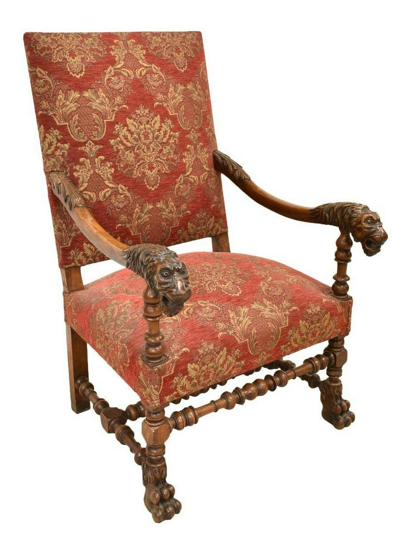 FRENCH WALNUT FIGURAL CARVED FAUTEUIL