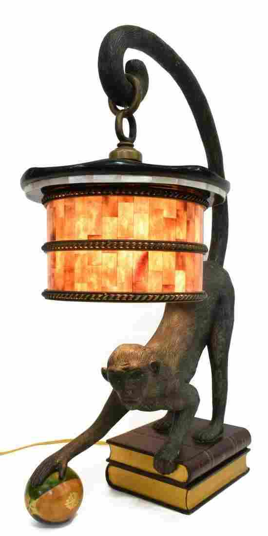 MAITLAND-SMITH BRONZE MONKEY FIGURAL TABLE LAMP