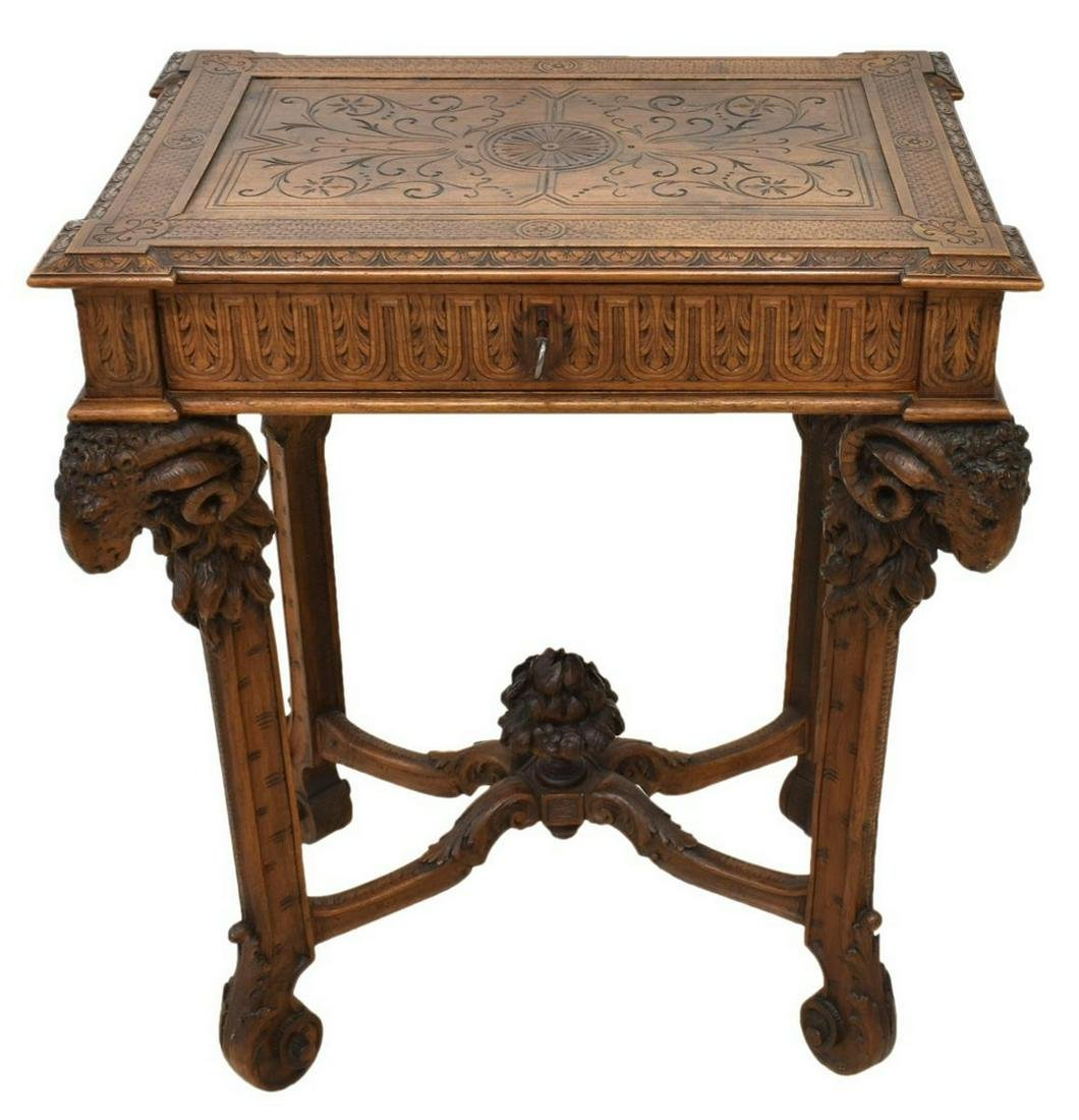 FRENCH NEOCLASSICAL STYLE CARVED RAMS HEAD TABLE