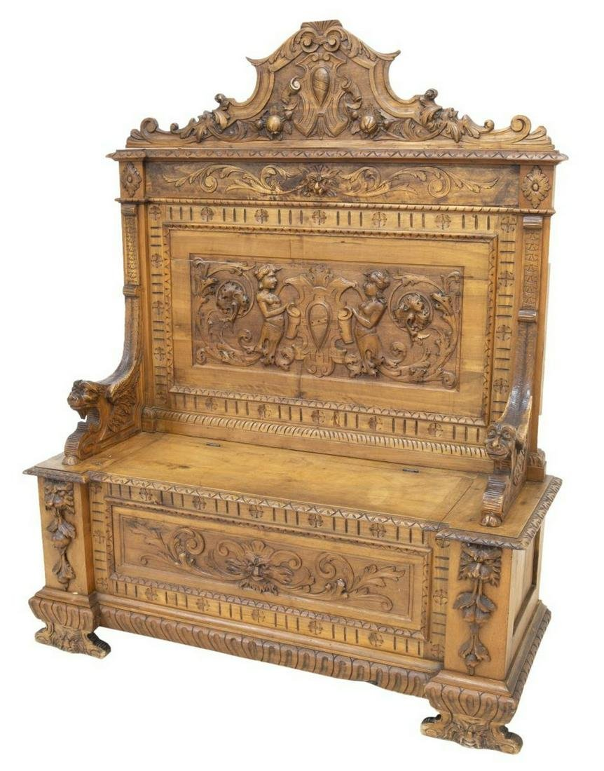 ITALIAN RENAISSANCE REVIVAL WELL CARVED HALL BENCH