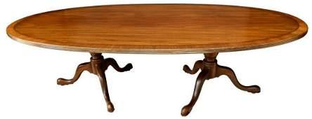 KITTINGER MAHOGANY DOUBLE PEDESTAL DINING TABLE