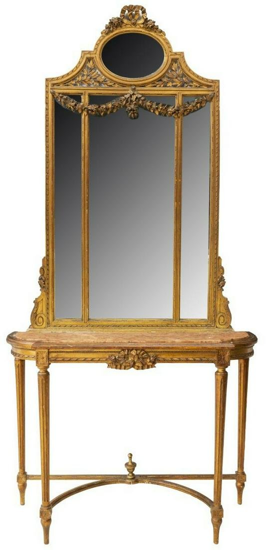 LOUIS XVI STYLE GILTWOOD CONSOLE TABLE & MIRROR