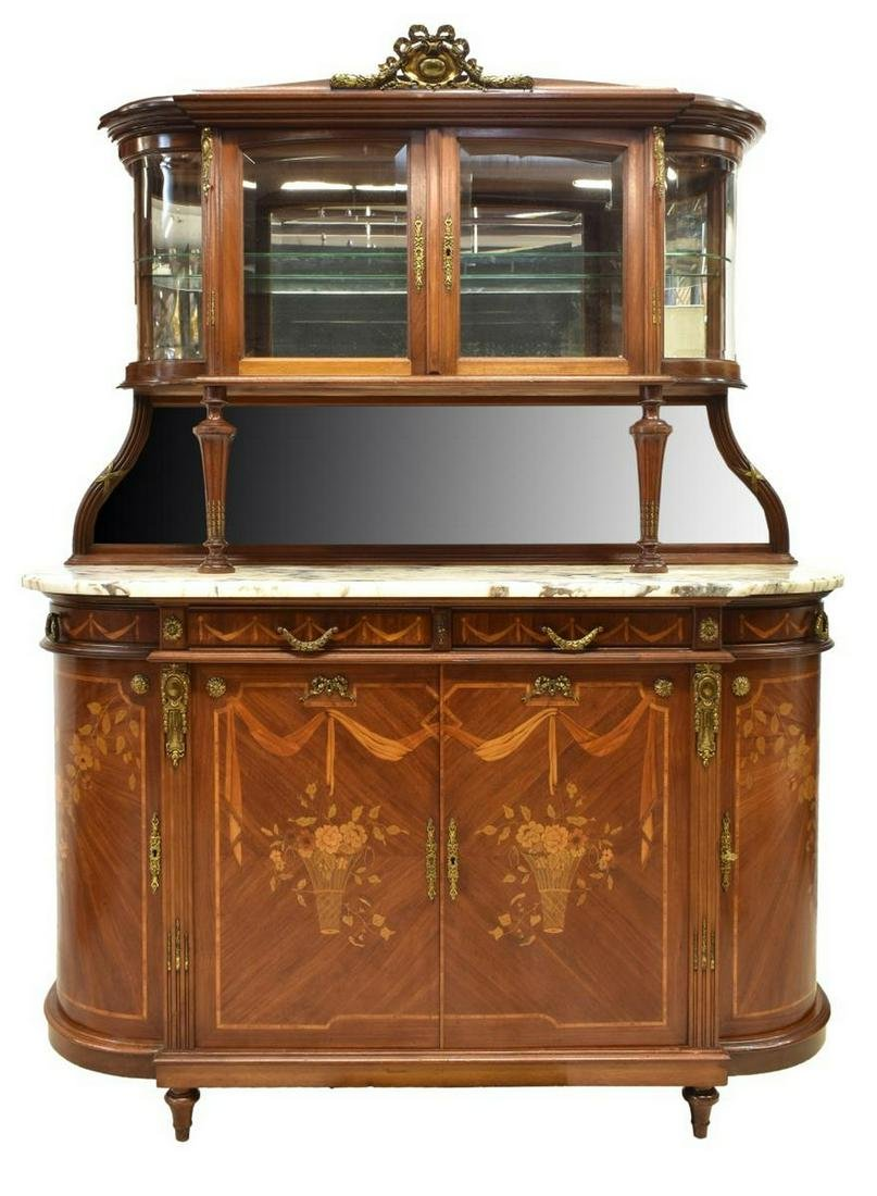 LOUIS XVI STYLE MARQUETRY DISPLAY SIDEBOARD