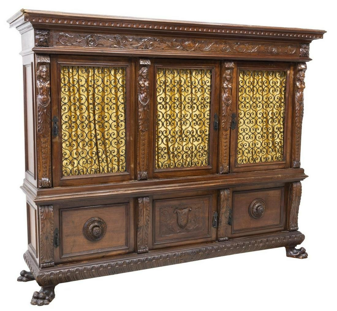 ITALIAN RENAISSANCE REVIVAL CARVED WALNUT BOOKCASE