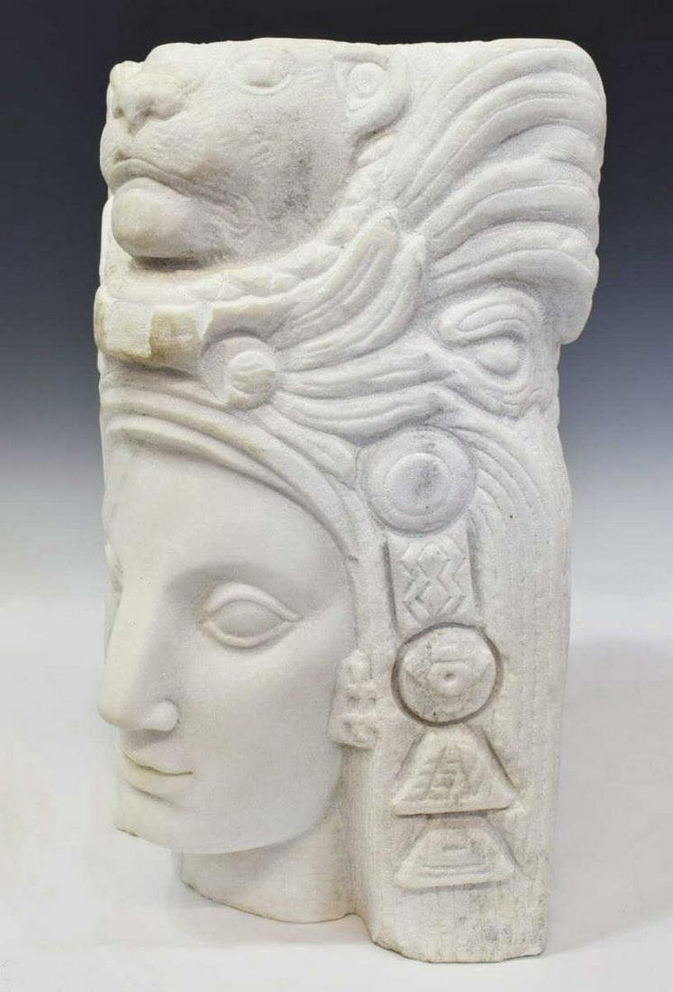 ART DECO AZTEC REVIVAL CARVED MARBLE FEMALE BUST