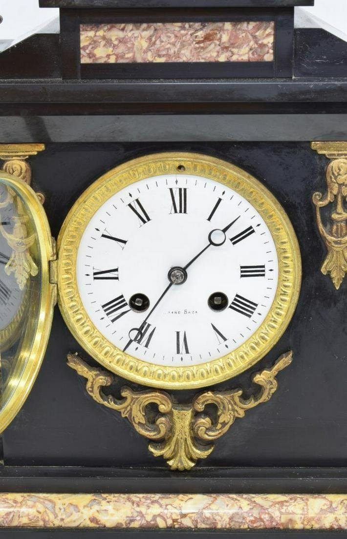 FRENCH NAPOLEON III SLATE & MARBLE SHELF CLOCK