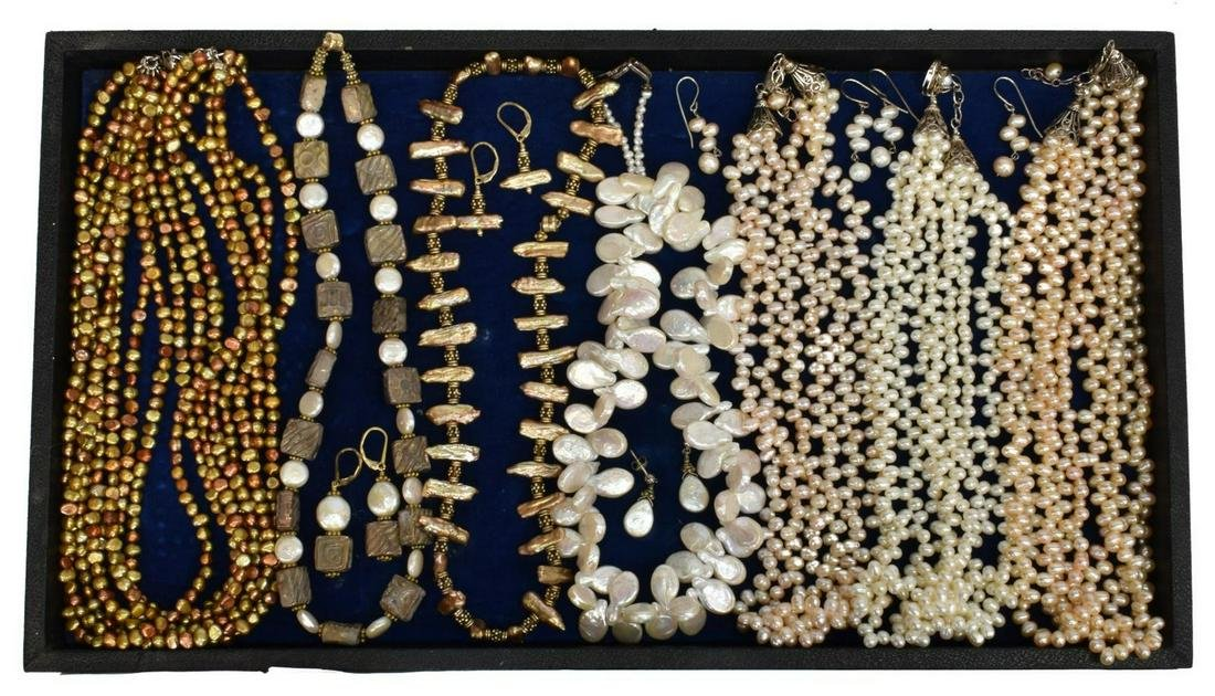 ESTATE PEARL NECKLACES & EARRINGS JEWELRY GROUP