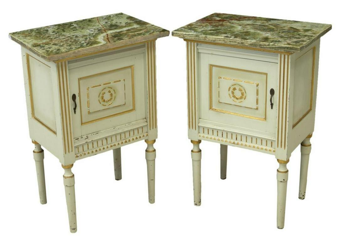 (2) LOUIS XVI STYLE PARCEL GILT BEDSIDE CABINETS