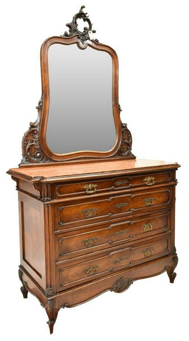 FRENCH LOUIS XV STYLE MARBLE-TOP COMMODE & MIRROR