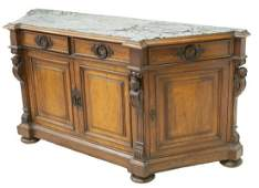 FRENCH MARBLE-TOP WALNUT SIDEBOARD