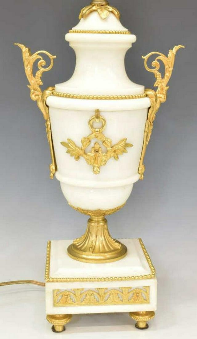 FRENCH LOUIS XVI STYLE WHITE MARBLE URN-FORM LAMP