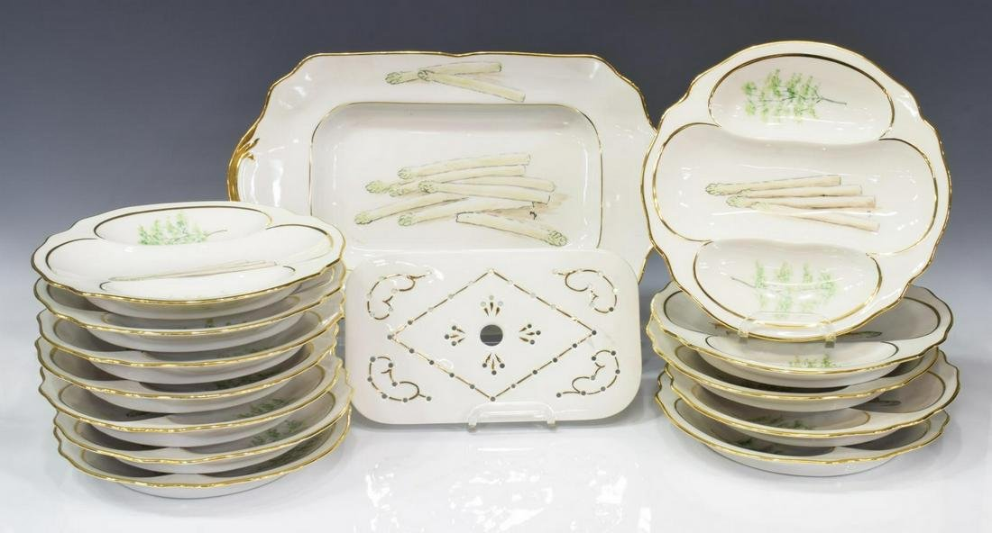 (13) FRENCH LIMOGES HAND-PAINTED ASPARAGUS SERVICE