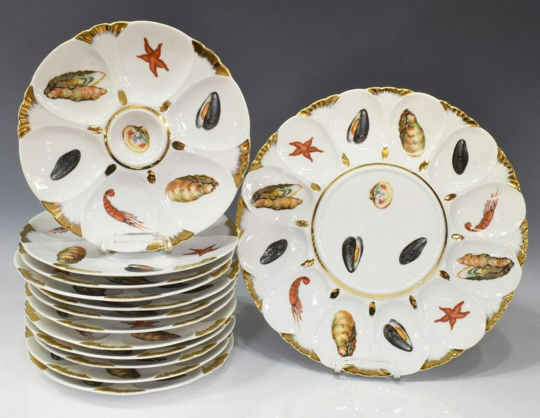 (13) FRENCH LIMOGES OYSTER SERVICE SET